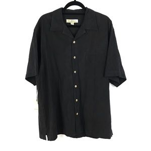 Tommy Bahama 100% Silk Black Embroidered Shirt NEW